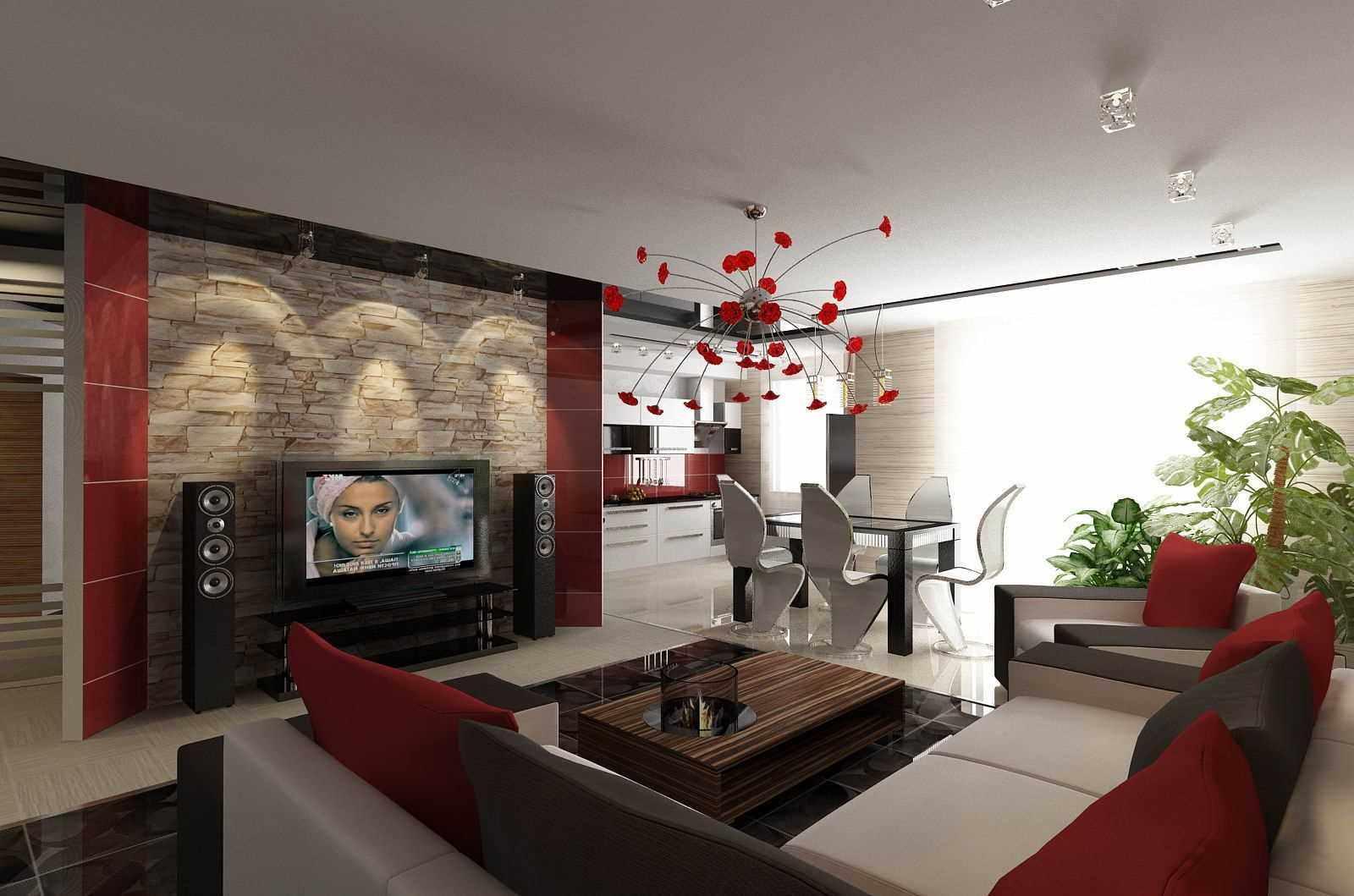 пример необычного стиля гостиной комнаты 2018