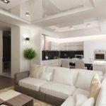 вариант красивого дизайна гостиной комнаты 17 кв.м фото