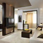 идея светлого интерьера гостиной комнаты 25 кв.м картинка
