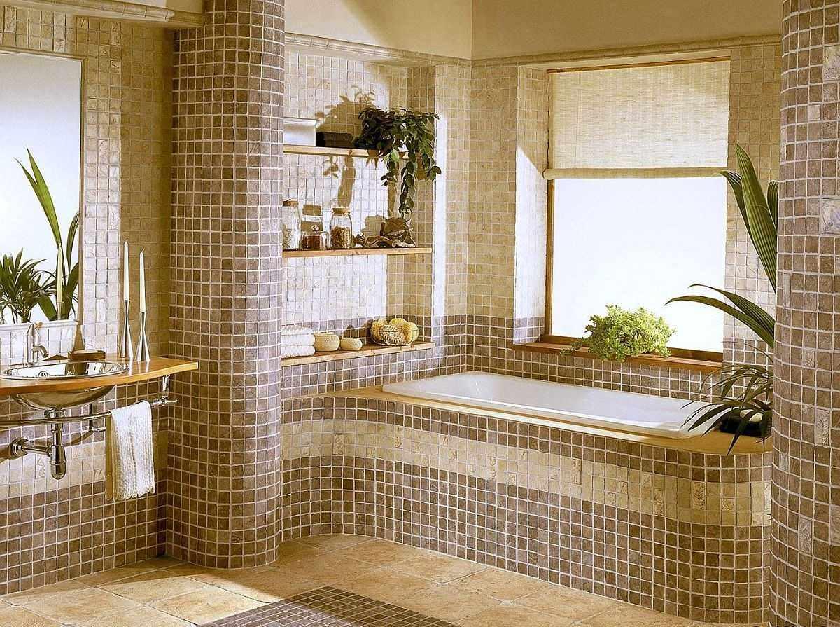 пример яркого дизайна ванной комнаты с облицовкой плиткой