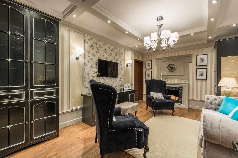идея необычного интерьера гостиной комнаты 25 кв.м