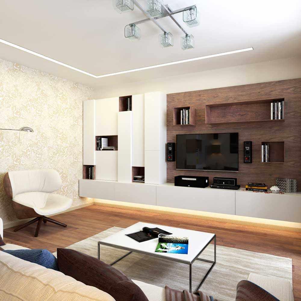 пример светлого декора гостиной комнаты 16 кв.м