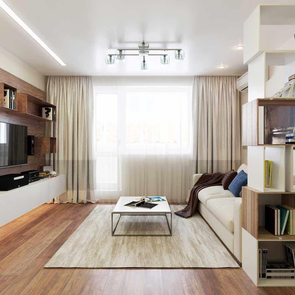 пример светлого декора гостиной комнаты 19-20 кв.м