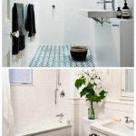 вариант яркого декора ванной комнаты с облицовкой плиткой фото