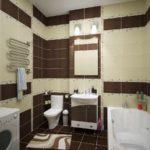пример яркого стиля ванной комнаты с облицовкой плиткой картинка