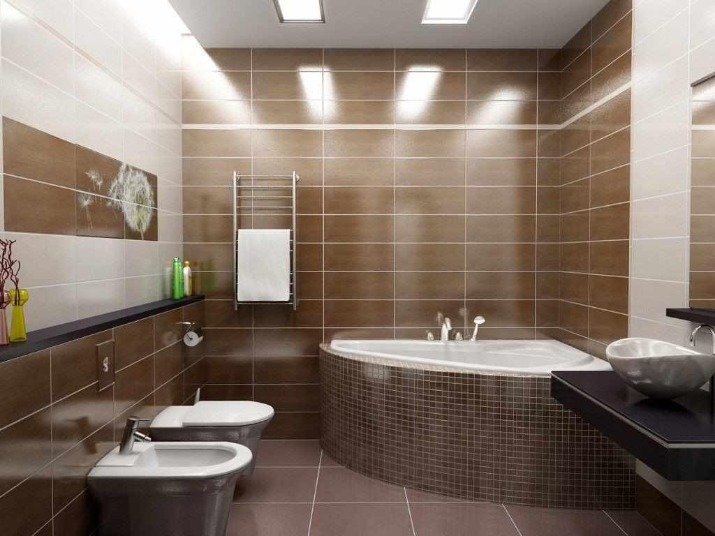 пример необычного стиля ванной комнаты с угловой ванной