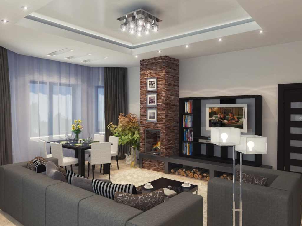 идея применения красивого стиля гостиной комнаты с камином