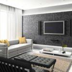 вариант использования светлого дизайна гостиной комнаты в стиле минимализм фото