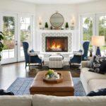 идея применения яркого стиля гостиной комнаты с камином картинка