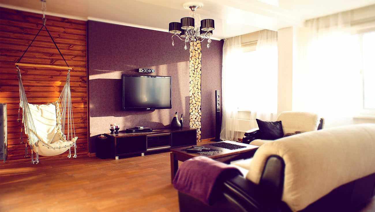 вариант яркого интерьера гостиной комнаты 25 кв.м