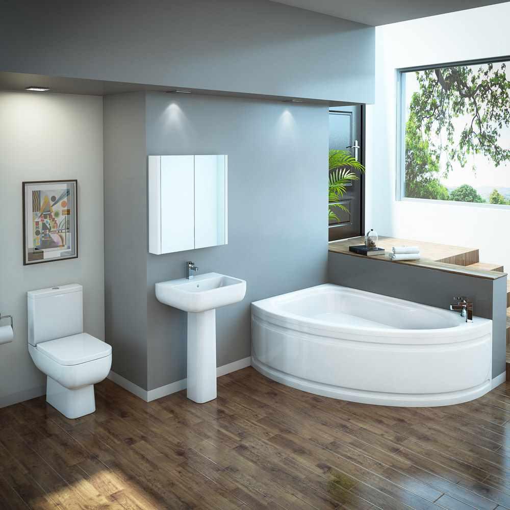 идея яркого дизайна ванной комнаты с угловой ванной