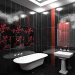 идея яркого интерьера ванной комнаты с облицовкой плиткой фото
