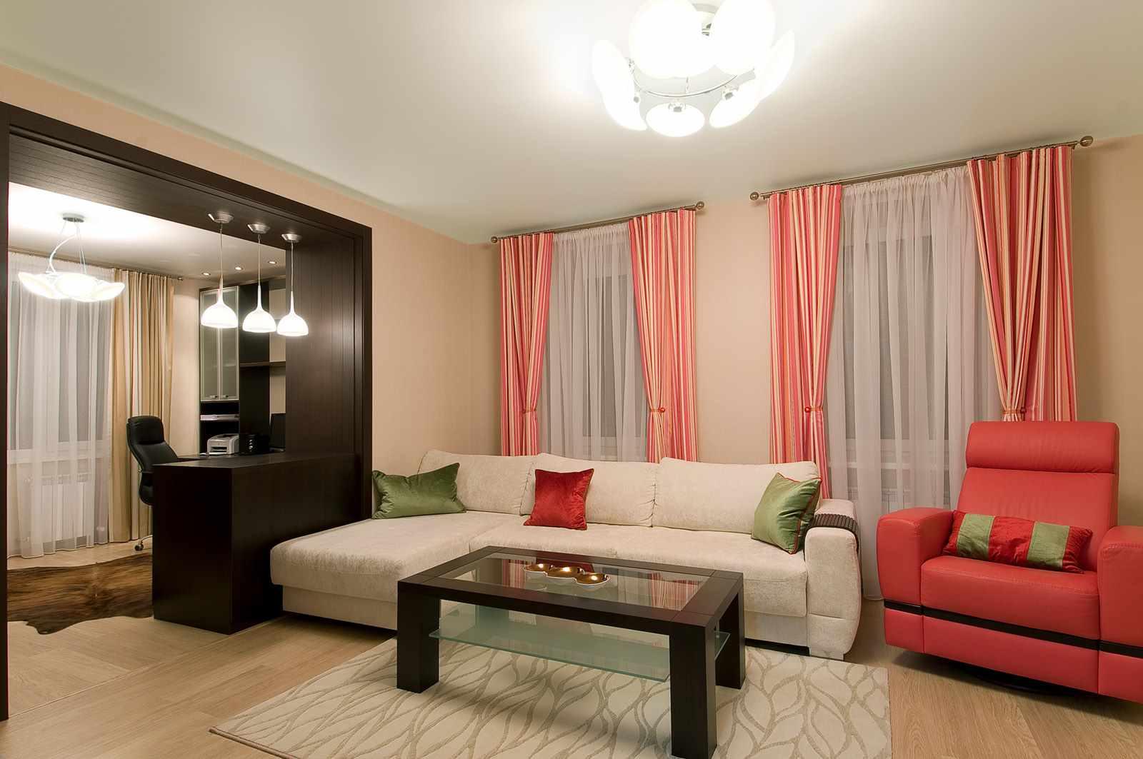 пример красивого интерьера гостиной комнаты 19-20 кв.м