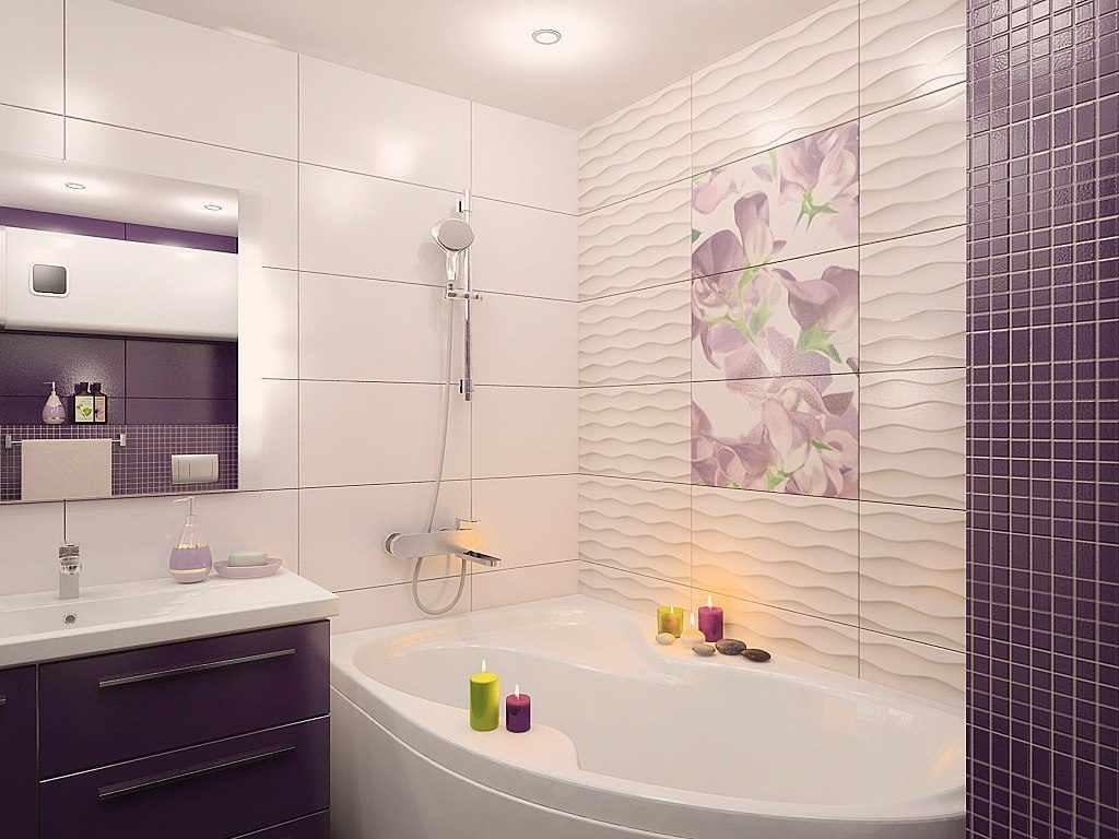 идея необычного дизайна ванной комнаты с облицовкой плиткой
