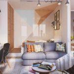 идея необычного интерьера гостиной комнаты 19-20 кв.м картинка