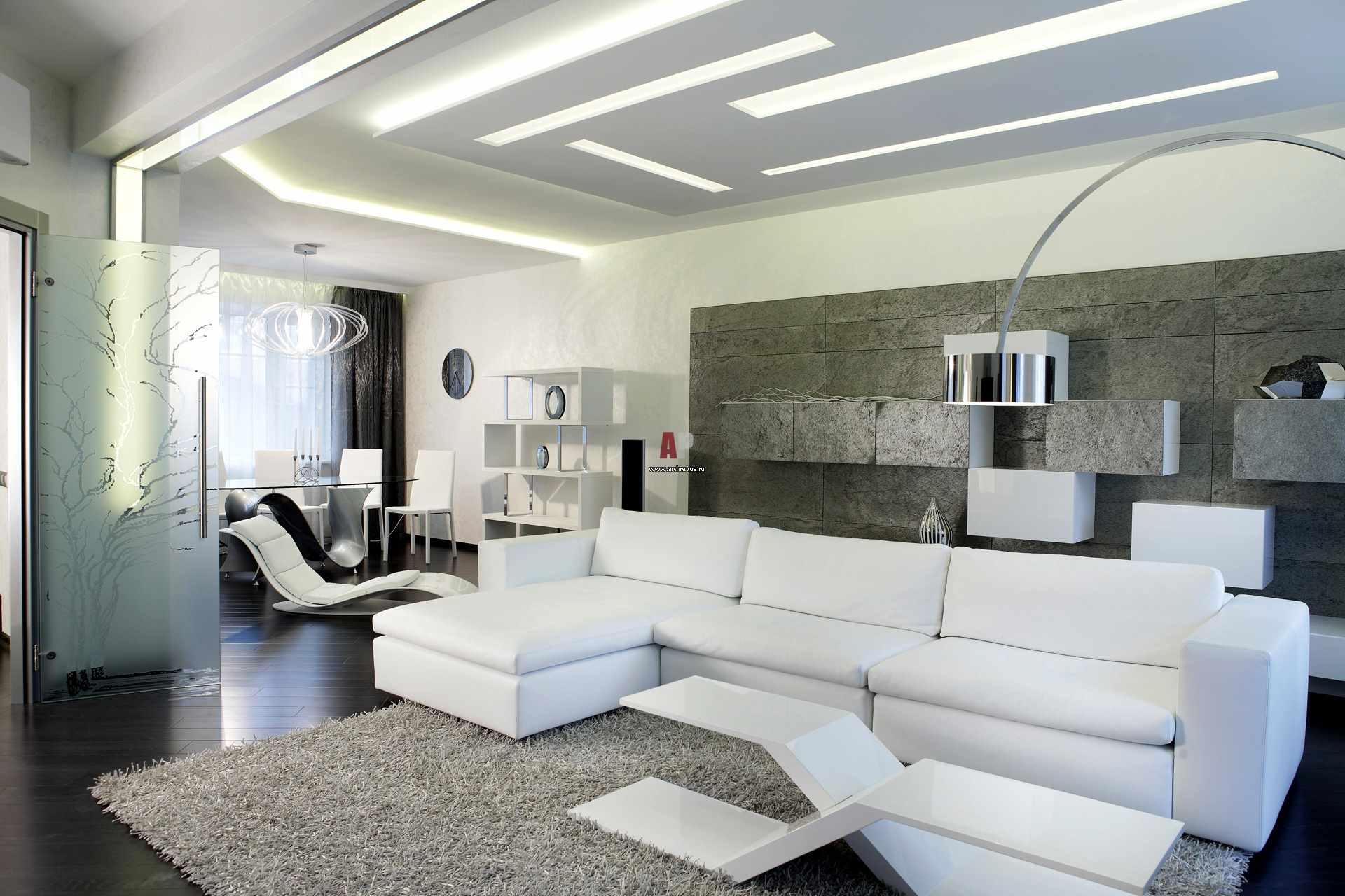 пример применения яркого интерьера гостиной комнаты в стиле минимализм