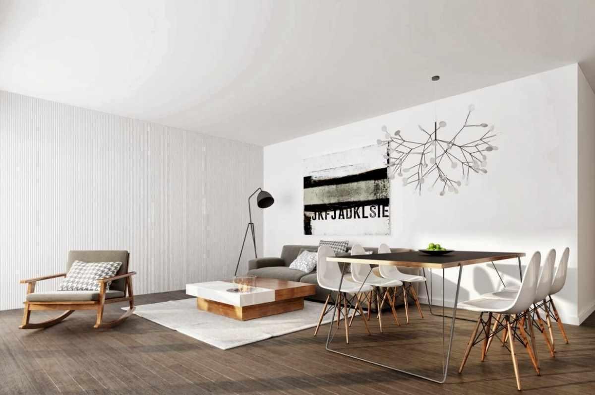 пример применения красивого интерьера гостиной комнаты в стиле минимализм