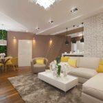 пример применения яркого декора гостиной комнаты в стиле минимализм картинка