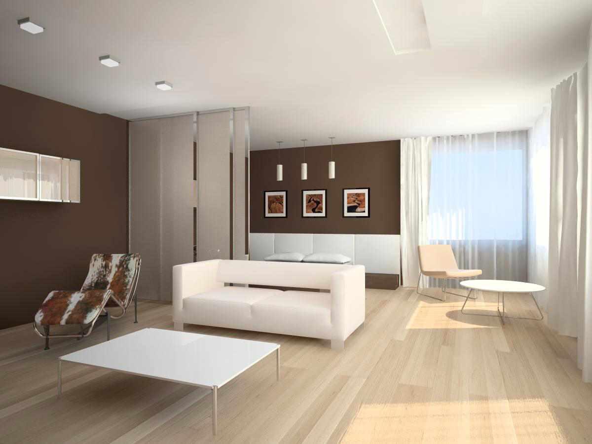 вариант использования светлого дизайна гостиной комнаты в стиле минимализм