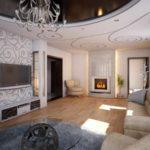 идея использования необычного интерьера гостиной комнаты с камином картинка