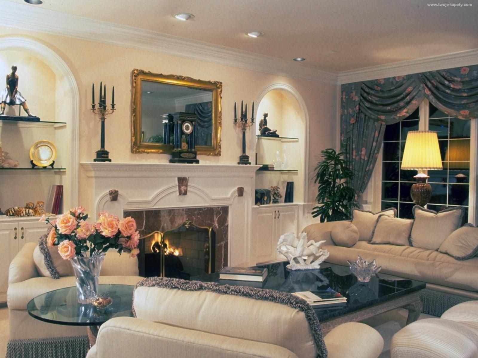 вариант использования необычного дизайна гостиной комнаты с камином