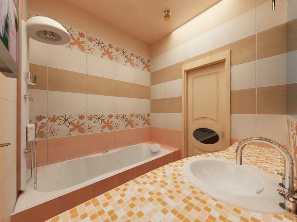 пример красивого интерьера ванной комнаты с облицовкой плиткой