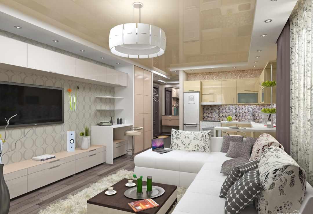 вариант красивого интерьера гостиной комнаты 25 кв.м