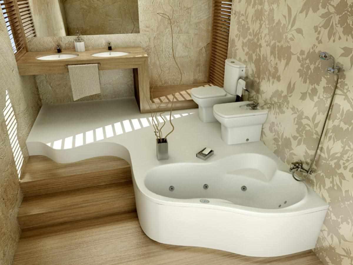 пример красивого декора ванной комнаты с угловой ванной
