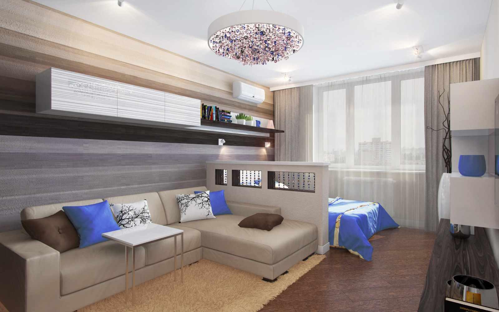 идея яркого дизайна гостиной комнаты 19-20 кв.м