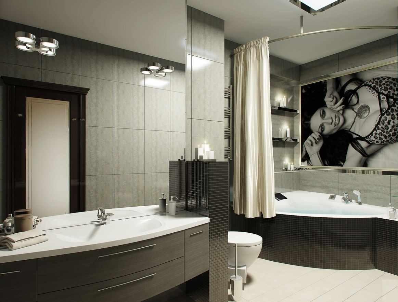 идея светлого дизайна ванной комнаты с угловой ванной