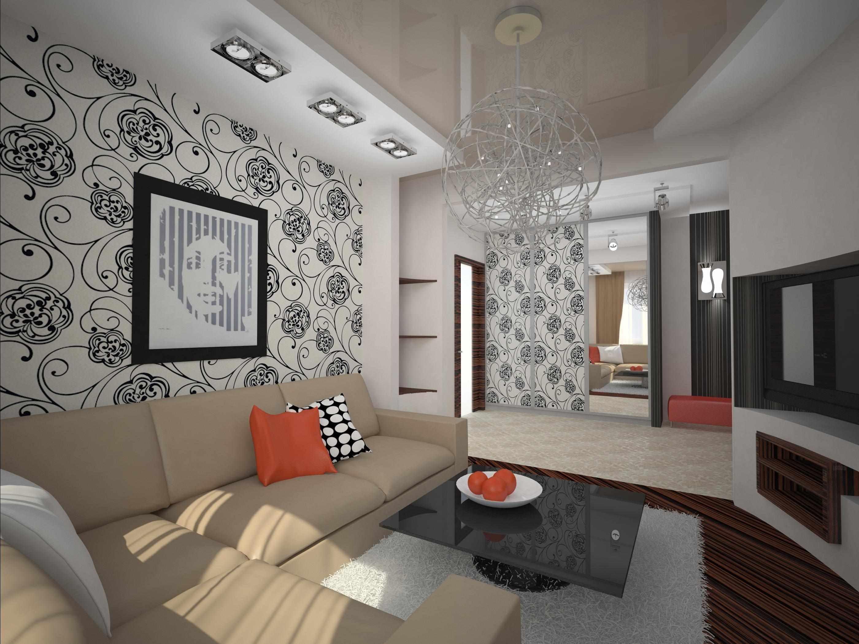 пример красивого интерьера гостиной комнаты 16 кв.м