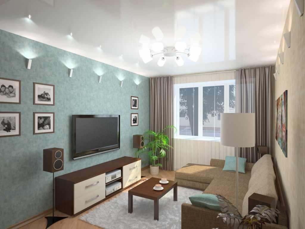 вариант светлого интерьера гостиной комнаты 17 кв.м
