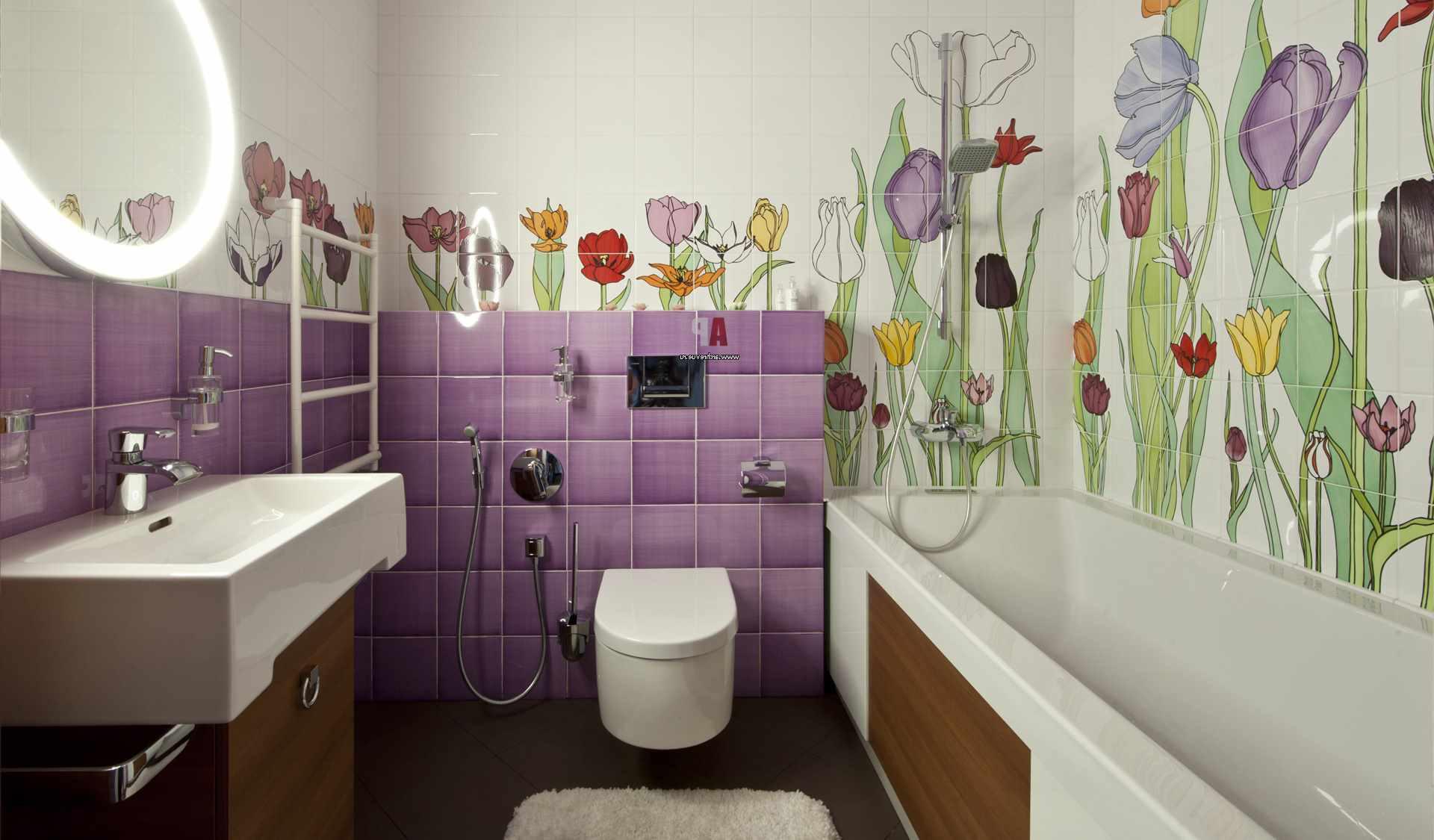 идея светлого стиля ванной комнаты с облицовкой плиткой