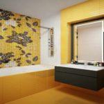 идея светлого интерьера ванной комнаты с облицовкой плиткой картинка