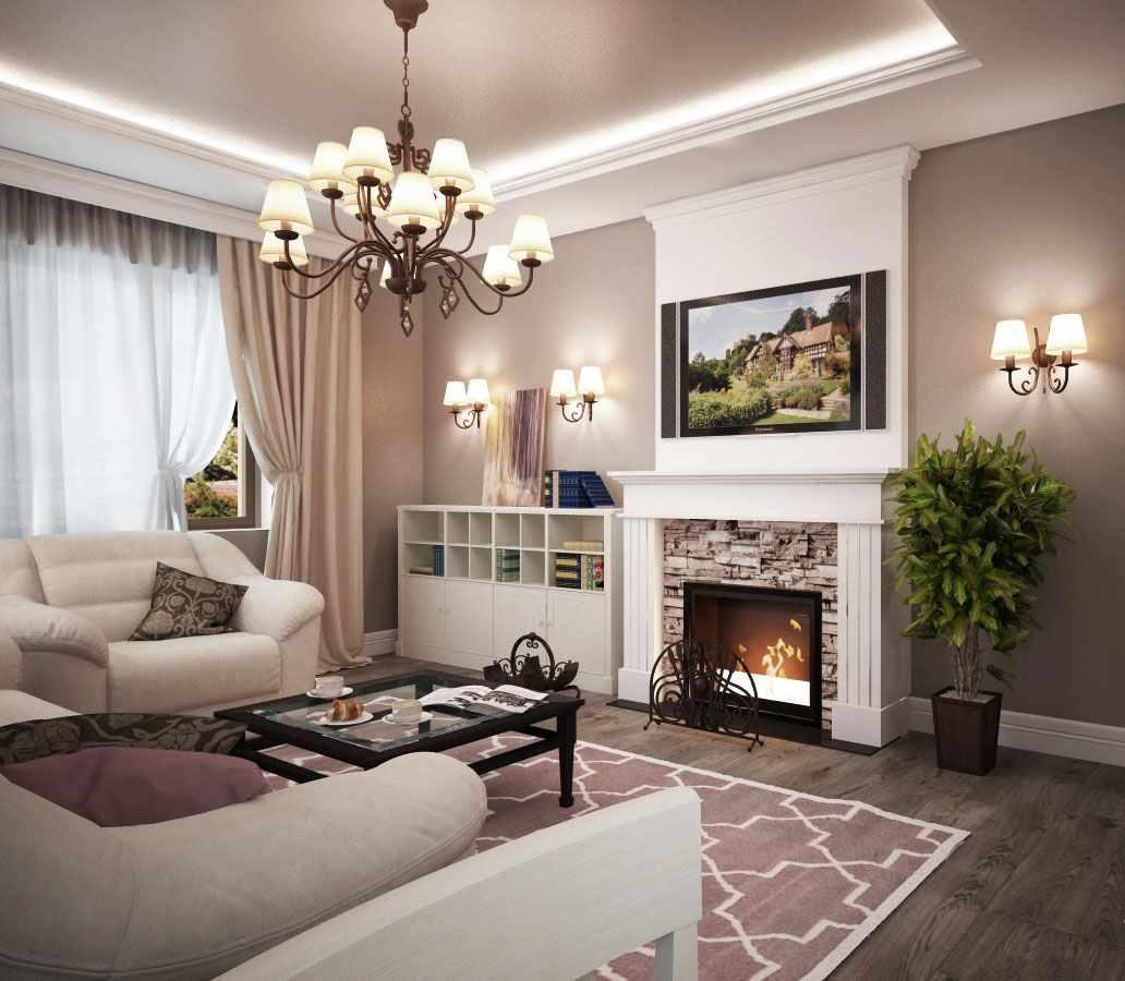 идея использования яркого декора гостиной комнаты с камином