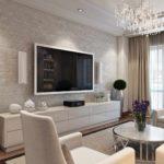 идея яркого дизайна гостиной комнаты 2018 картинка