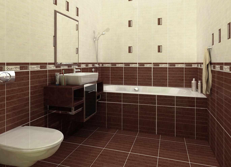 пример красивого дизайна ванной комнаты с облицовкой плиткой