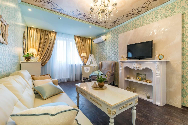 вариант яркого стиля гостиной комнаты 19-20 кв.м