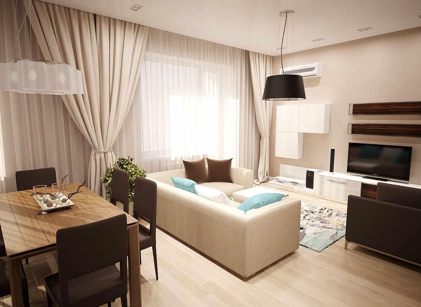 идея яркого декора гостиной комнаты 25 кв.м