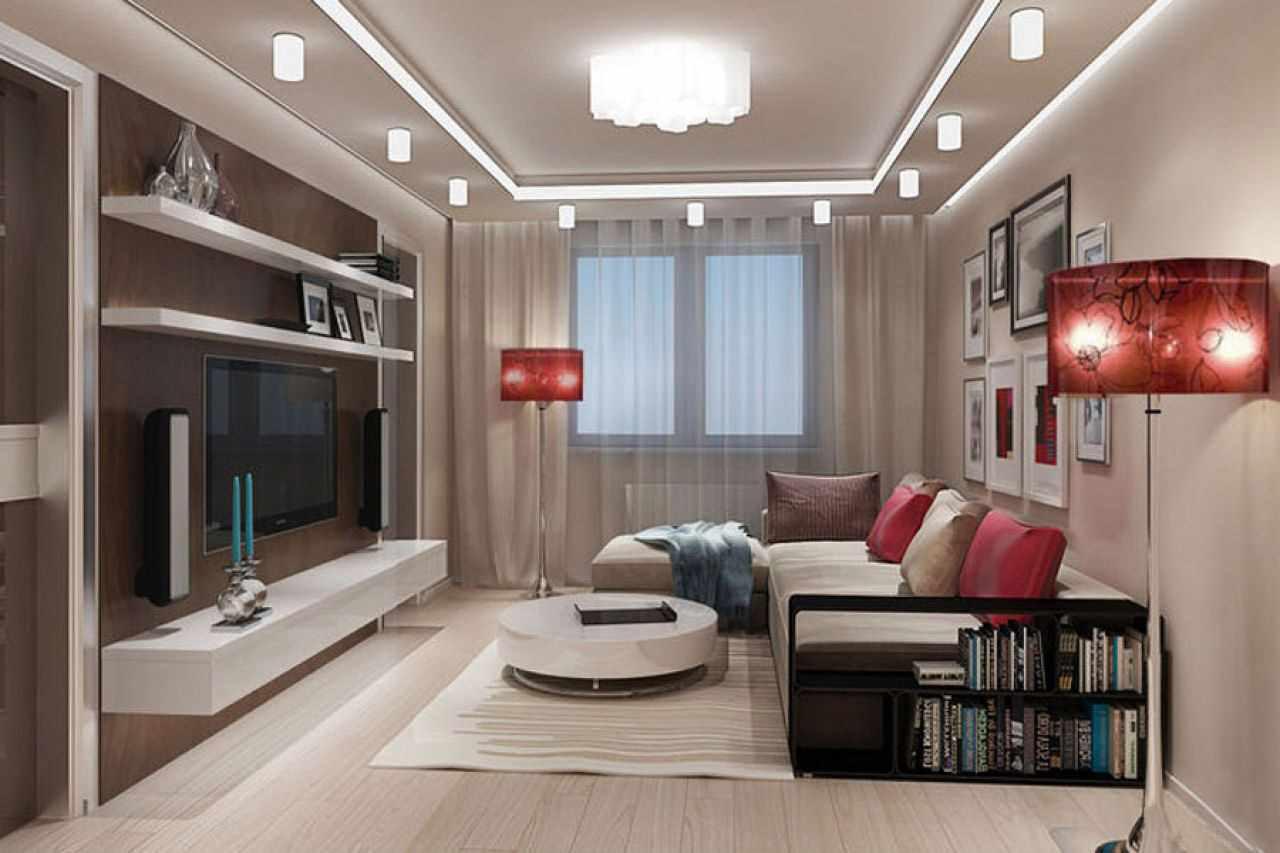 пример необычного интерьера гостиной комнаты 17 кв.м