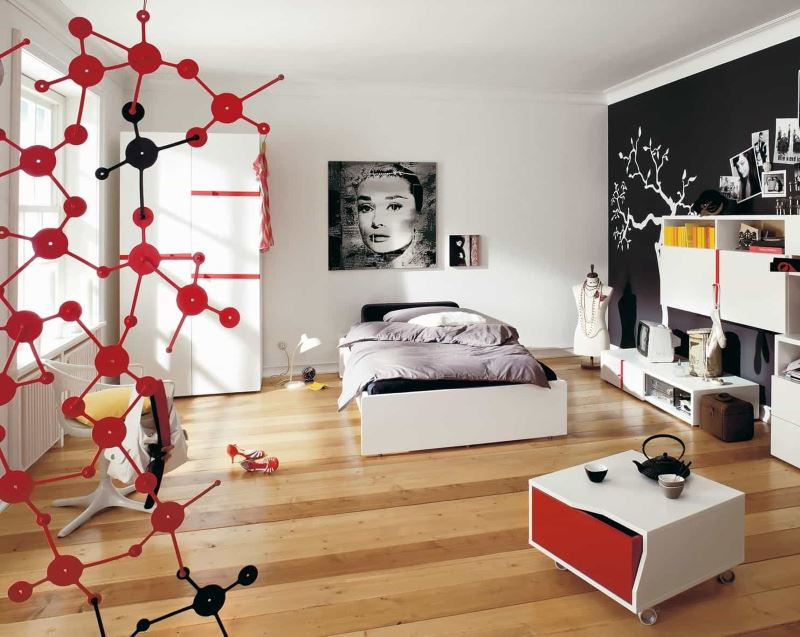 Черная стена в дизайне просторной комнаты для девушки