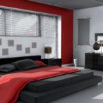 черно красная с белым спальня