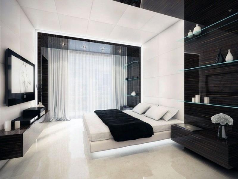 дизайн спальни в черно белых тонах