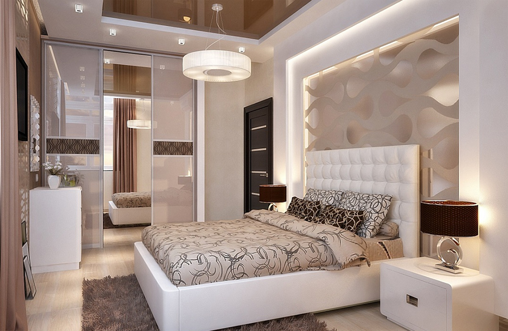 дизайн спальни с обоями в квартире