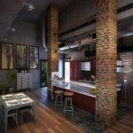 Кирпичные столбы в интерьере кухни