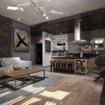 Дизайн-проект современной кухни в стиле лофт