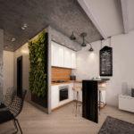 Живая стена из растений на кухне индустриального стиля