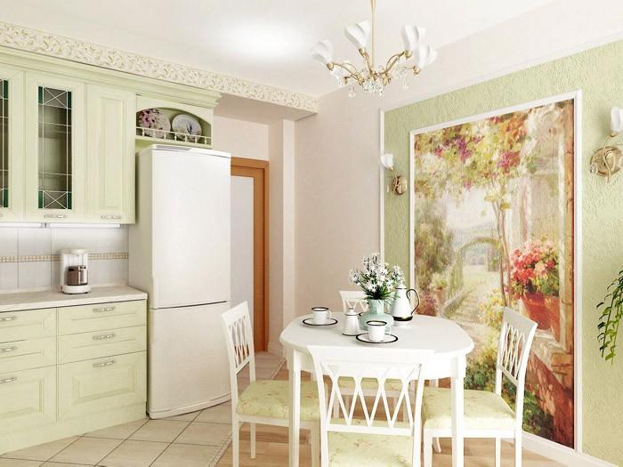 Фотообои в интерьере светлой кухни