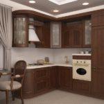 Темные фасады кухонного гарнитура в стиле классики