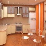 Оранжевый занавески в дизайне современной кухни